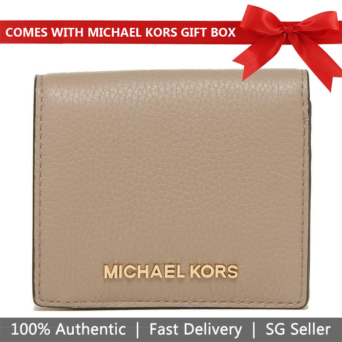 Michael Kors Wallet In Gift Box Small Wallet Jet Set Travel Md Carryall Card Case Truffle / Gold # 35H8GTVD2L