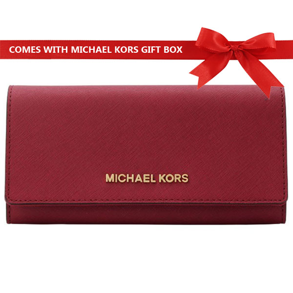 Michael Kors Wallet Jet Set Travel Carryall Long Wallet Cherry Red # 35H6GYAE3L