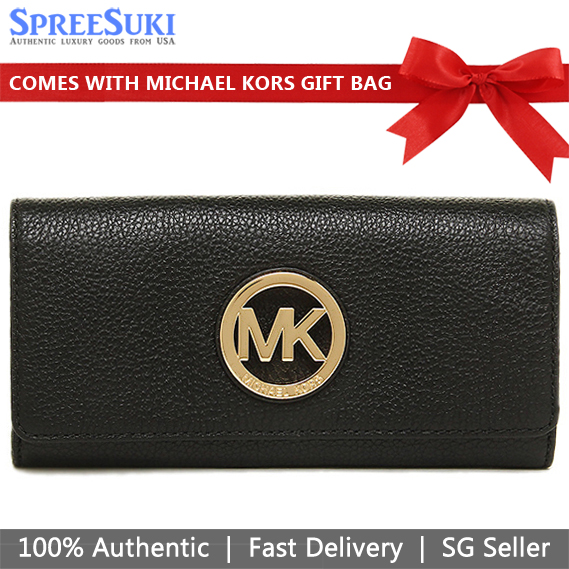 Michael Kors Wallet With Gift Bag Long Wallet Fulton Flap Carryall Leather Wallet Black # 35F0GFTE1L