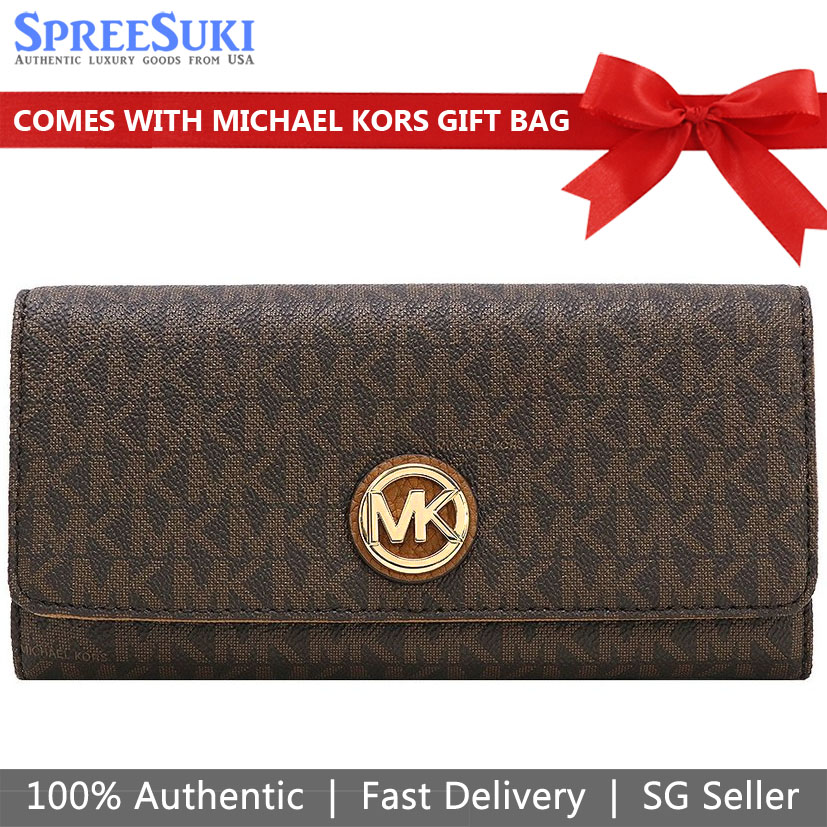 Michael Kors Wallet With Gift Bag Long Wallet Fulton Flap Continental Wallet Brown Acorn # 35F8GFTE1B