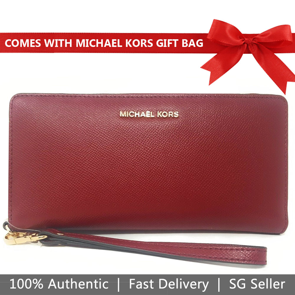 Michael Kors Wallet Wristlet With Gift Bag Jet Set Travel Continental Leather Wallet Wristlet Maroon Dark Red # 32S5GTVE9L
