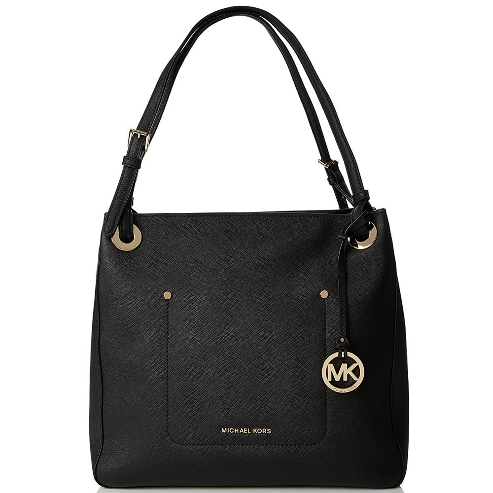Michael Kors Walsh Medium Saffiano Leather Shoulder Tote Black # 30S7GWAE6L