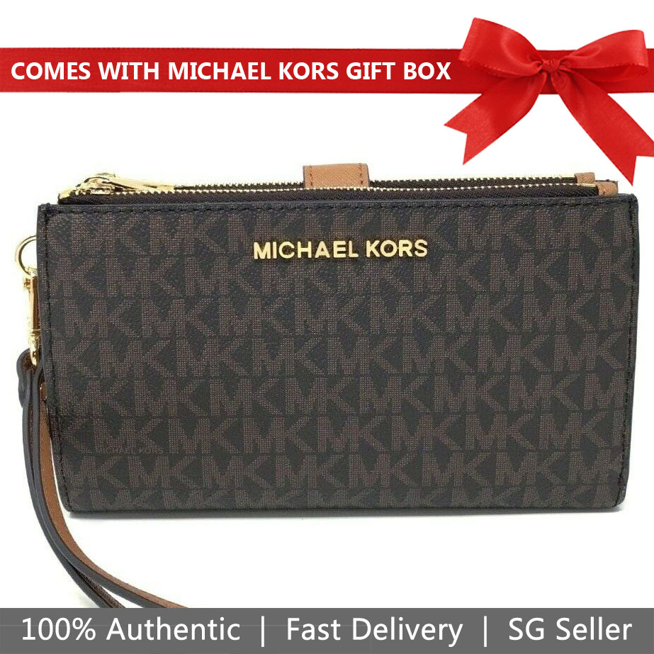 Michael Kors Wristlet In Gift Box Jet Set Travel Double Zip Wristlet Wallet Brown Acorn # 35F8GTVW0B