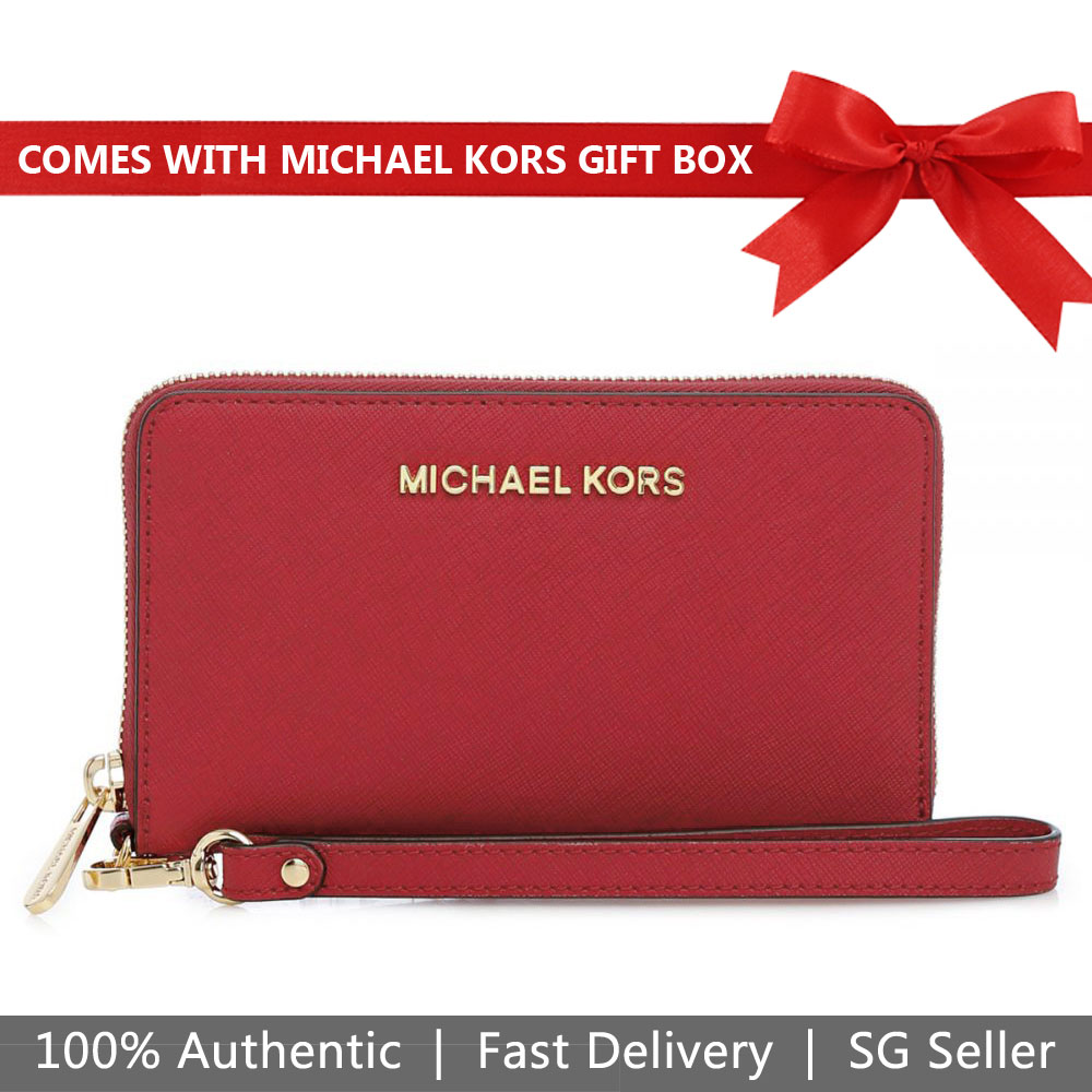 Michael Kors Wristlet In Gift Box Jet Set Travel Large Flat Multifunctional Leather Wristlet Phone Case Scarlet Red # 35F8GTVW7L