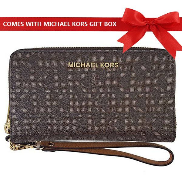 Michael Kors Wristlet Jet Set Travel Large Flat Multifunctional Phone Case Wristlet Brown / Acorn # 35S8GTVE3B