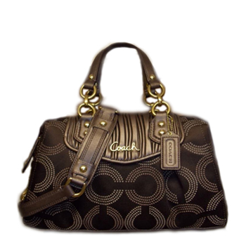 Ashley Gathered Dotted Op Art Satchel