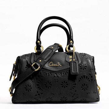 Ashley Lace Leather Satchel Brass/Black