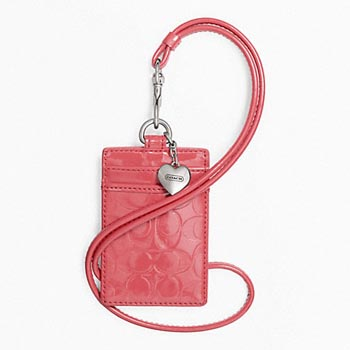 Embossed Liquid Gloss Lanyard ID Case Coral