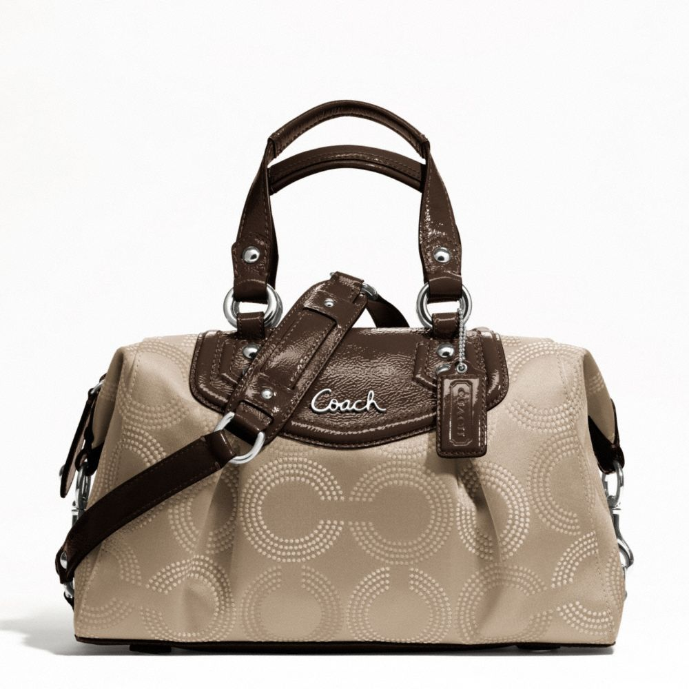 Ashley Dotted Op Art Satchel Khaki / Mahogany