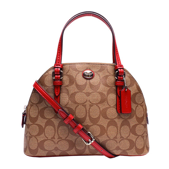 Peyton Mini Signature Cora Domed Satchel Khaki / Red