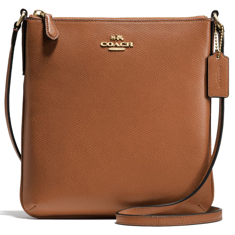 Coach Crossgrain Leather North / South Crossbody Bag Saddle # F36063