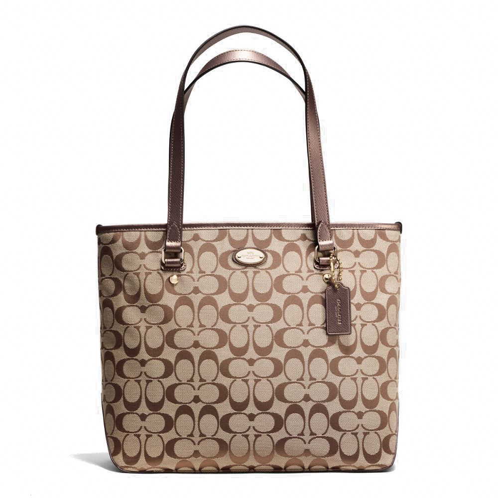 Zip Tote In Signature Khaki / Bronze # F36375