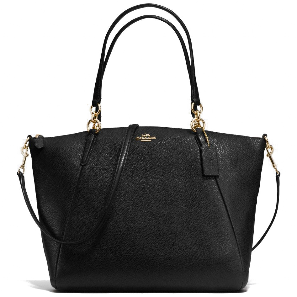 Coach Pebble Leather Kelsey Satchel Crossbody Bag Black # F36591