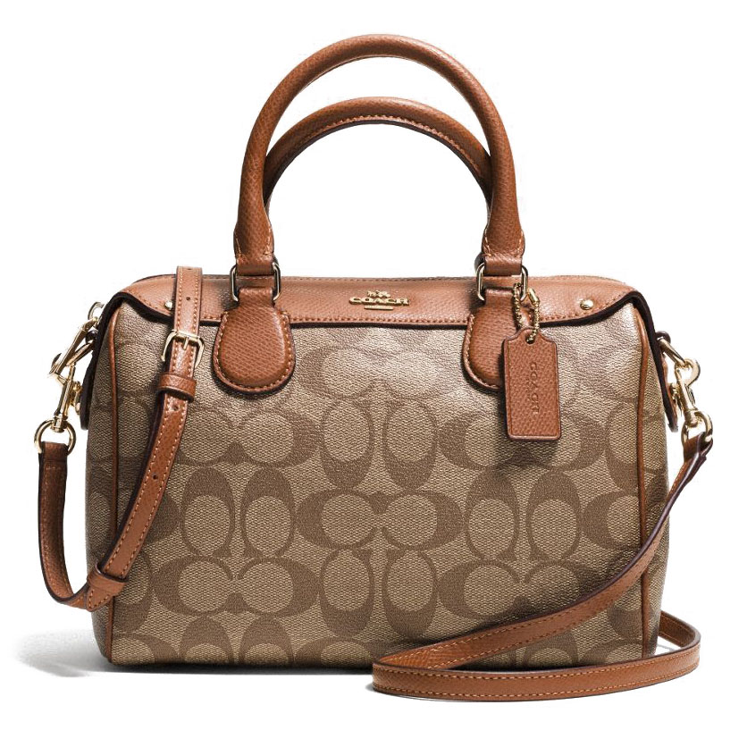 Signature Mini Bennett Satchel Khaki / Saddle # F36702