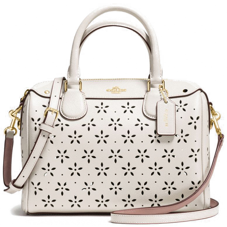 Coach Laser Cut Leather Mini Bennett Satchel Chalk # F37619