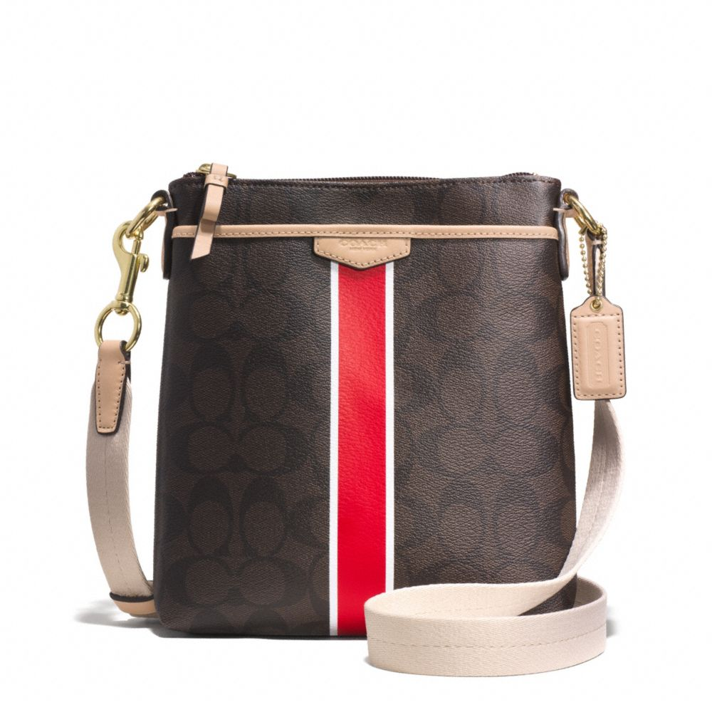 Signature Stripe Swingpack Brown / Vermillion