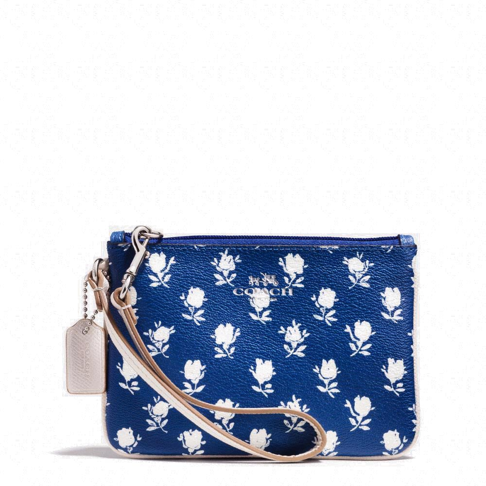 Badlands Floral Small Wristlet In Pebble Embossed Canvas Blue # F53152