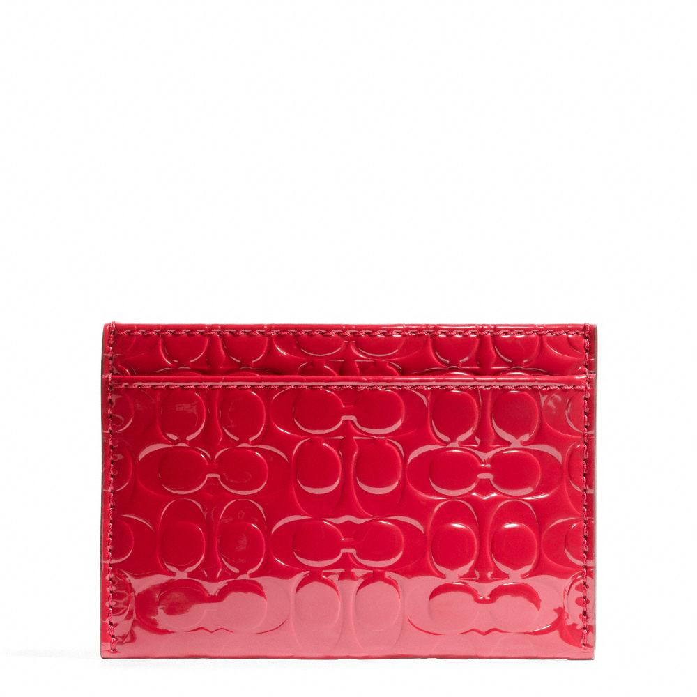 Embossed Liquid Gloss Card Case Coral Red # F62544