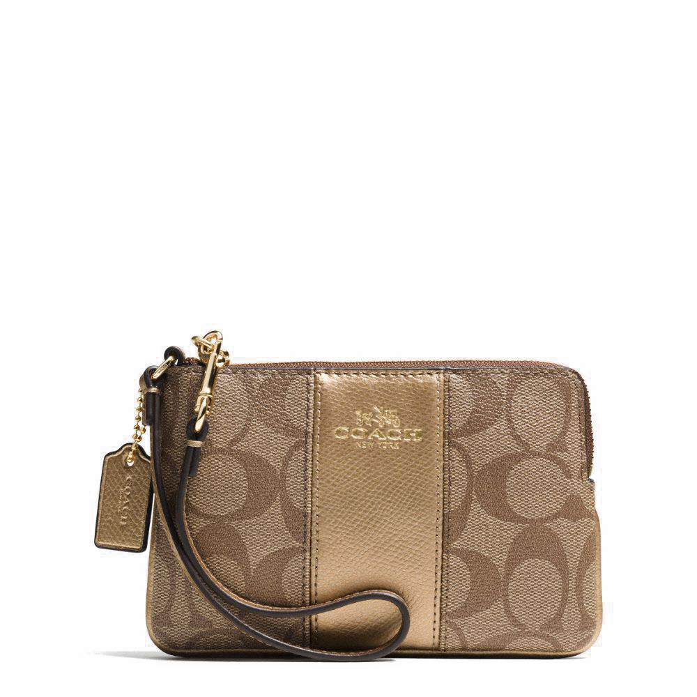 Coach Corner Zip Wristlet In Signature Coated Canvas With Leather Khaki / Gold # F64233
