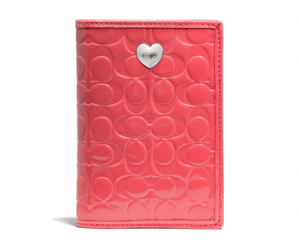 Embossed Liquid Gloss Passport Case Coral