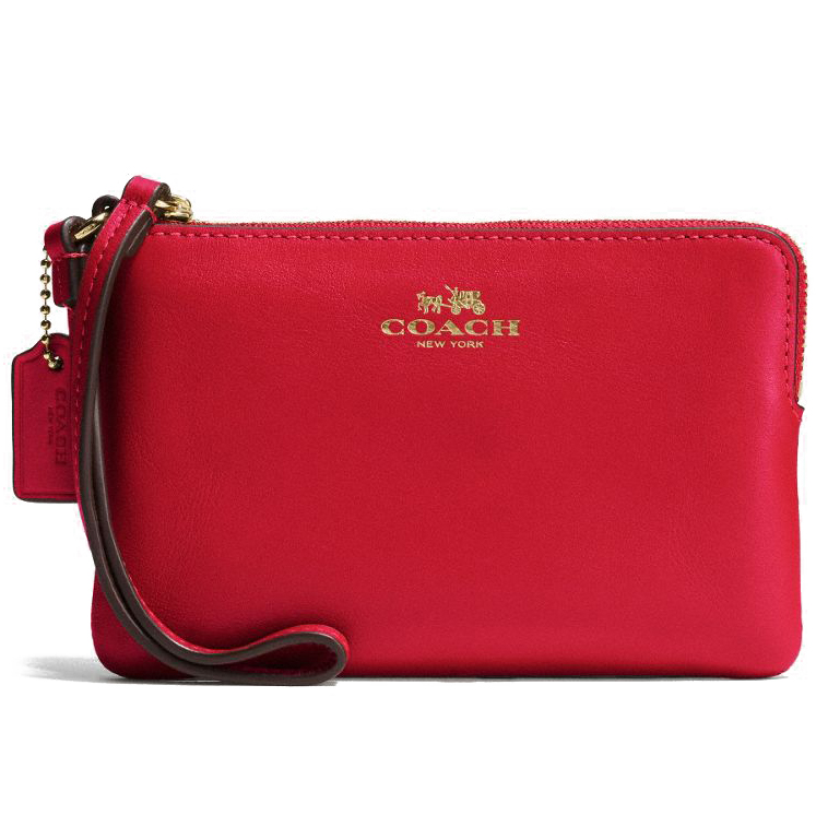 Coach Armor Leather Corner Zip Wristlet Classic Red # F66449