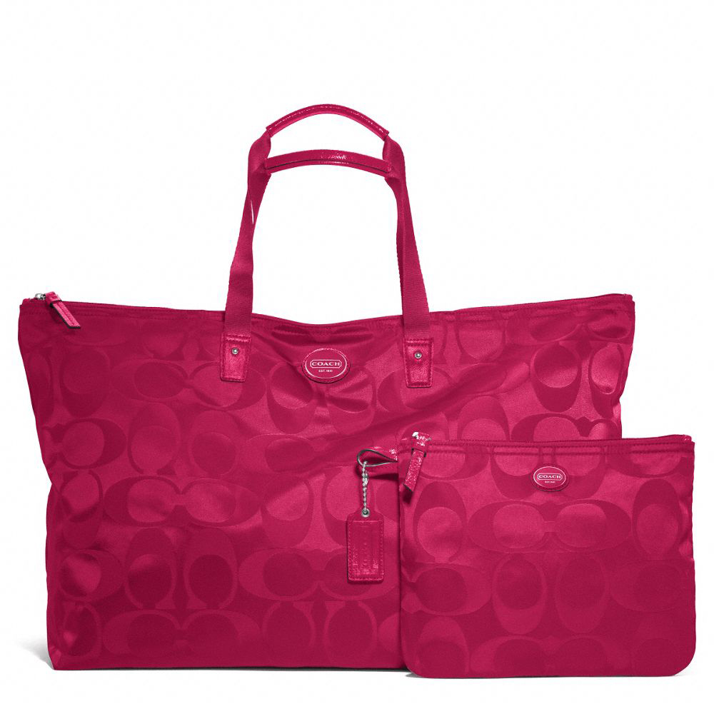 Signature Nylon Large Packable Weekender Fushia # F77316