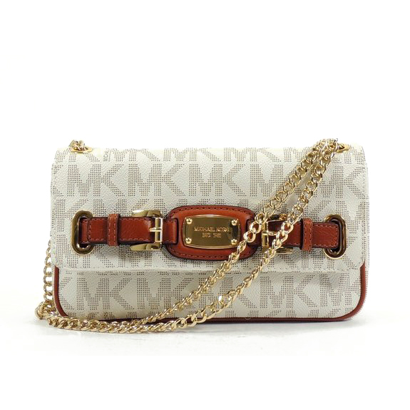 Michael Kors Hamilton Small Shoulder Flap Chain Signature PVC Bag Vanilla # 35H0THML1B