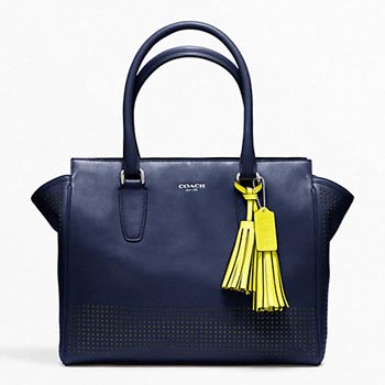 Perforated Leather Medium Candace Carryall Navy