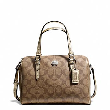 Peyton Signature Bennett Mini Satchel Khaki/Gold