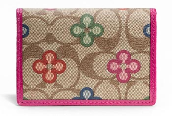 Peyton Signature Clover Card Case Khaki & Multicolor