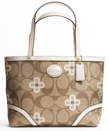 Peyton Signature Clover Top Handle Tote Khaki & White