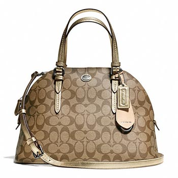 Peyton Signature Cora Domed Satchel Khaki/Gold