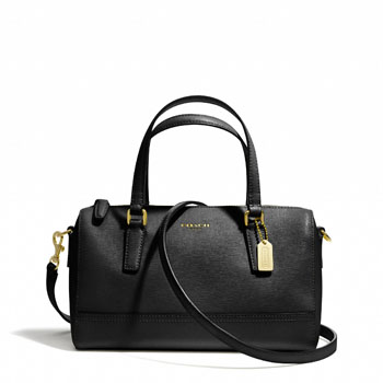 Saffiano Mini Satchel In Leather Black/Brass